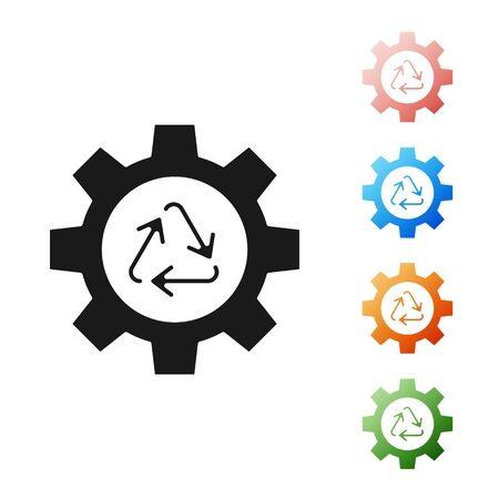 Black Recycle symbol and gear icon isolated on white background. Circular arrow icon. Environment recyclable go green. Set icons colorful. Vector Illustration 向量圖像