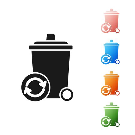 Black Recycle bin with recycle symbol icon isolated on white background. Trash can icon. Garbage bin sign. Recycle basket sign. Set icons colorful. Vector Illustration