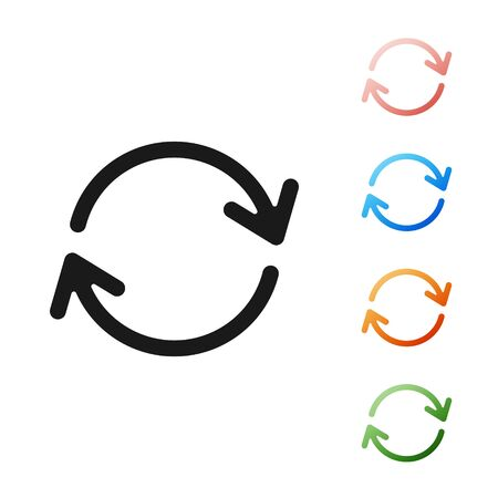 Black Refresh icon isolated on white background. Reload symbol. Rotation arrows in a circle sign. Set icons colorful. Vector Illustration