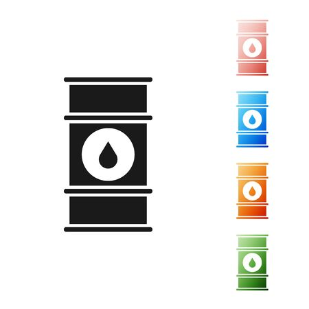 Black Oil barrel line icon isolated on white background. Oil drum container. For infographics, fuel, industry, power, ecology. Set icons colorful. Vector Illustration 向量圖像