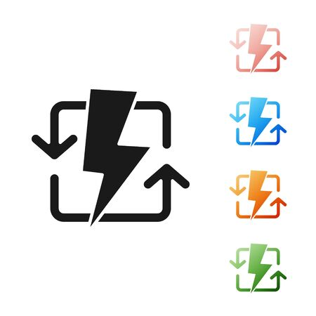 Black Recharging icon isolated on white background. Electric energy sign. Set icons colorful. Vector Illustration 向量圖像
