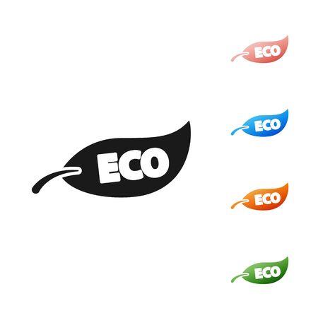 Black Leaf Eco symbol icon isolated on white background. Banner, label, tag, logo, sticker for eco green. Set icons colorful. Vector Illustration Reklamní fotografie - 133901675