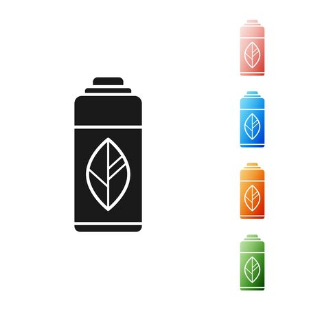Black Recycling plastic bottle icon isolated on white background. Set icons colorful. Vector Illustration