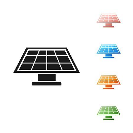 Black Solar energy panel icon isolated on white background. Set icons colorful. Vector Illustration