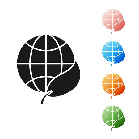 Black Earth globe and leaf icon isolated on white background. World or Earth sign. Geometric shapes. Environmental concept. Set icons colorful. Vector Illustration 向量圖像