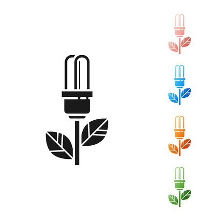 Black Light bulb with leaf icon isolated on white background. Eco energy concept. Alternative energy concept. Set icons colorful. Vector Illustration 向量圖像