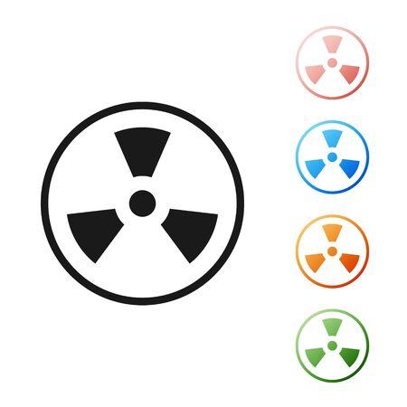 Black Radioactive icon isolated on white background. Radioactive toxic symbol. Radiation Hazard sign. Set icons colorful. Vector Illustration Çizim
