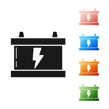 Black Car battery icon isolated on white background. Accumulator battery energy power and electricity accumulator battery. Lightning bolt. Set icons colorful. Vector Illustration