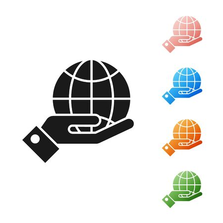 Black Human hands holding Earth globe icon isolated on white background. Save earth concept. Set icons colorful. Vector Illustration