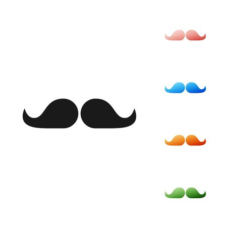 Black Mustache icon isolated on white background. Barbershop symbol. Facial hair style. Set icons colorful. Vector Illustration