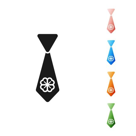 Black Tie with four leaf clover icon isolated on white background. Necktie and neckcloth symbol. Happy Saint Patricks day. Set icons colorful. Vector Illustration