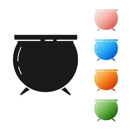 Black Witch cauldron icon isolated on white background. Happy Saint Patricks day. Set icons colorful. Vector Illustration Ilustracja