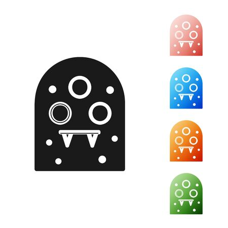 Black Alien icon isolated on white background. Extraterrestrial alien face or head symbol. Set icons colorful. Vector Illustration