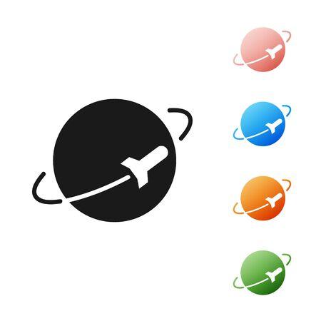Black Planet icon isolated on white background. Set icons colorful. Vector Illustration 向量圖像