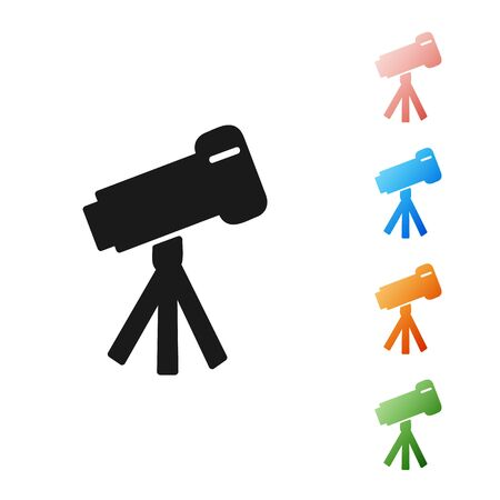 Black Telescope icon isolated on white background. Scientific tool. Education and astronomy element, spyglass and study stars. Set icons colorful. Vector Illustration