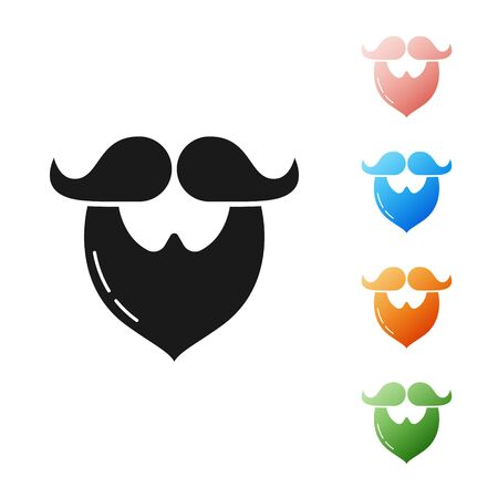 Black Mustache and beard icon isolated on white background. Barbershop symbol. Facial hair style. Set icons colorful. Vector Illustration Ilustrace
