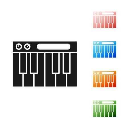 Black Music synthesizer icon isolated on white background. Electronic piano. Set icons colorful. Vector Illustration
