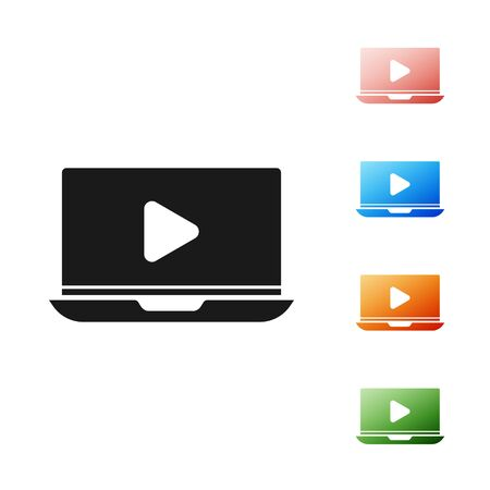Black Online play video icon isolated on white background. Laptop and film strip with play sign. Set icons colorful. Vector Illustration Illustration