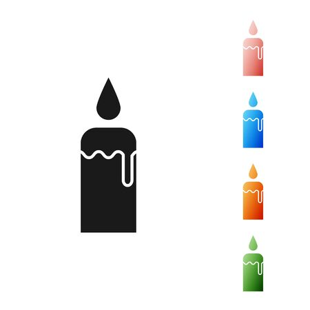 Black Burning candle in candlestick icon isolated on white background. Cylindrical candle stick with burning flame. Set icons colorful. Vector Illustration Ilustracja