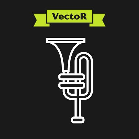 White line Musical instrument trumpet icon isolated on black background. Vector Illustration