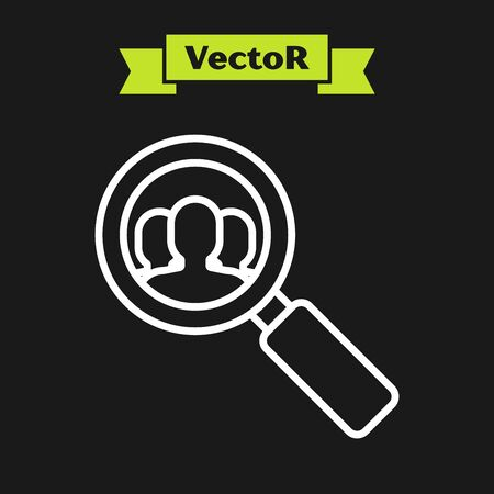 White line Magnifying glass for search a people icon isolated on black background. Recruitment or selection concept. Search for employees and job. Vector Illustration Ilustracja