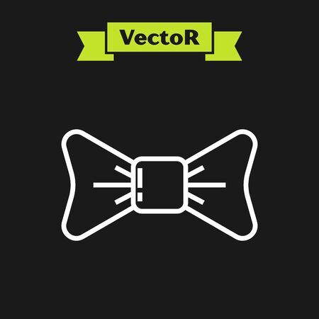 White line Bow tie icon isolated on black background. Vector Illustration