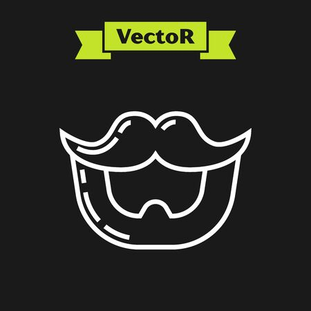 White line Mustache and beard icon isolated on black background. Barbershop symbol. Facial hair style. Vector Illustration Ilustrace