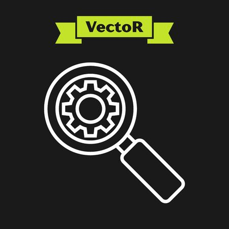 White line Magnifying glass and gear icon isolated on black background. Search gear tool. Business analysis symbol. Vector Illustration Ilustrace