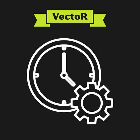 White line Time Management icon isolated on black background. Clock and gear sign. Productivity symbol. Vector Illustration Illusztráció