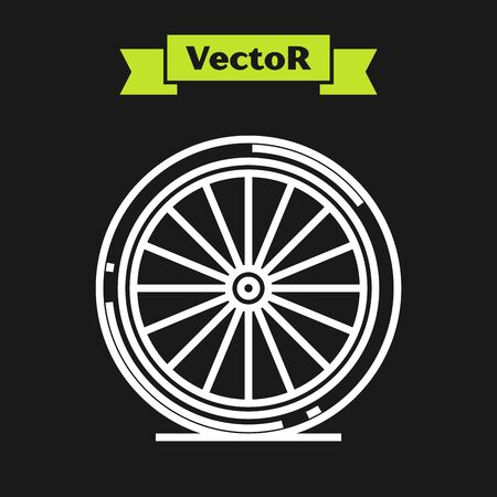 White line Bicycle wheel icon isolated on black background. Bike race. Extreme sport. Sport equipment. Vector Illustration