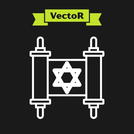White line Torah scroll icon isolated on black background. Jewish Torah in expanded form. Star of David symbol. Old parchment scroll. Vector Illustration