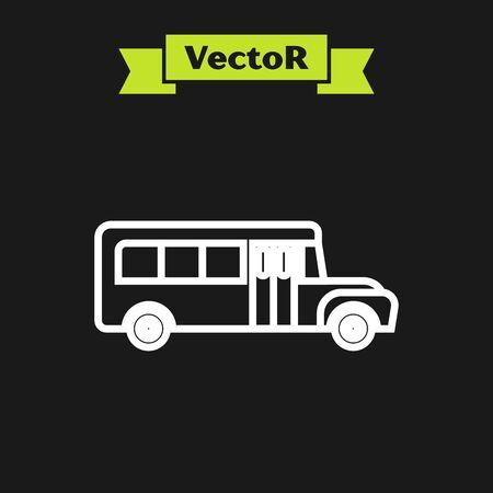 White line School Bus icon isolated on black background. Public transportation symbol. Vector Illustration Ilustracja