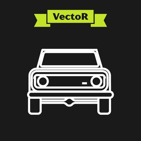 White line Off road car icon isolated on black background.  Vector Illustration