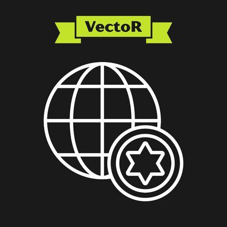 White line World Globe and Israel icon isolated on black background. Vector Illustration 일러스트