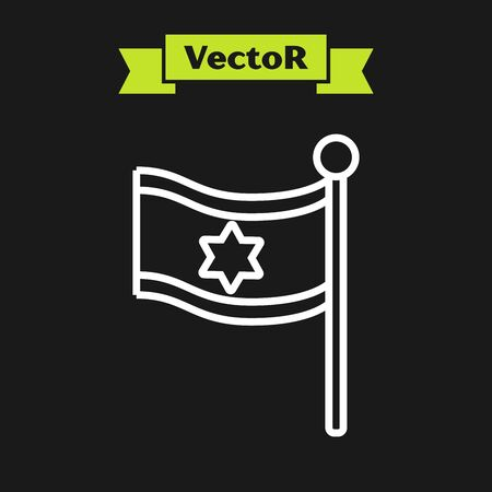 White line Flag of Israel icon isolated on black background. National patriotic symbol. Vector Illustration