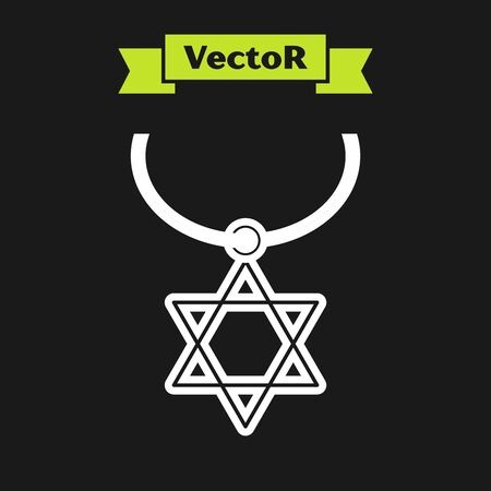 White line Star of David necklace on chain icon isolated on black background. Jewish religion symbol. Symbol of Israel. Jewellery and accessory. Vector Illustration