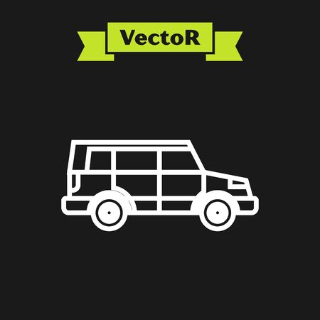White line Off road car icon isolated on black background. Vector Illustration 向量圖像