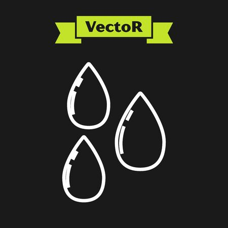 White line Water drop icon isolated on black background. Vector Illustration Archivio Fotografico - 133919515
