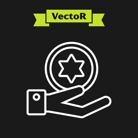White line Jewish coin on hand icon isolated on black background. Currency symbol. Vector Illustration 일러스트