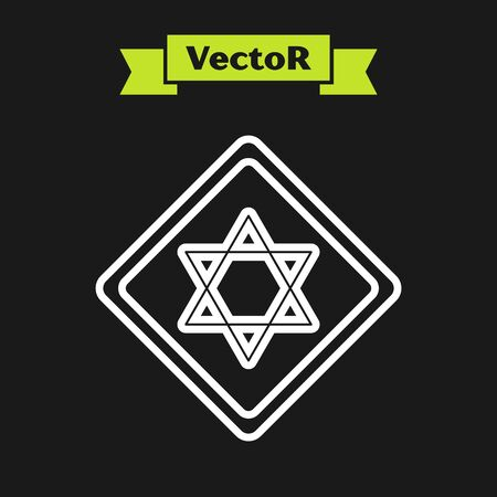 White line Star of David icon isolated on black background. Jewish religion symbol. Symbol of Israel. Vector Illustration 일러스트
