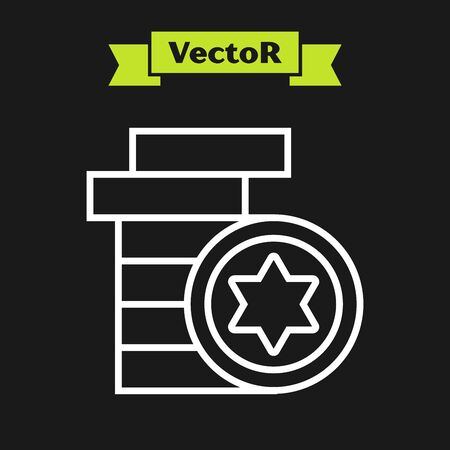 White line Jewish coin icon isolated on black background. Currency symbol. Vector Illustration