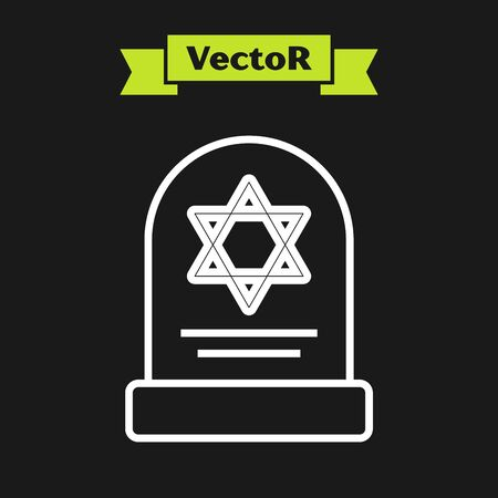 White line Tombstone with star of david icon isolated on black background. Jewish grave stone. Gravestone icon. Vector Illustration