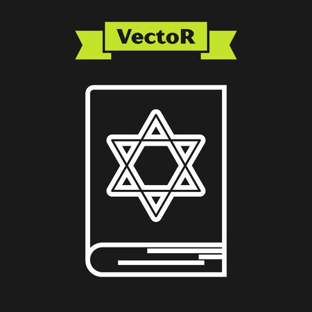 White line Jewish torah book icon isolated on black background. Pentateuch of Moses. On the cover of the Bible is the image of the Star of David. Vector Illustration
