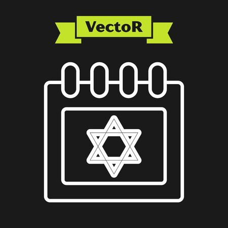 White line Jewish calendar with star of david icon isolated on black background. Hanukkah calendar day. Vector Illustration