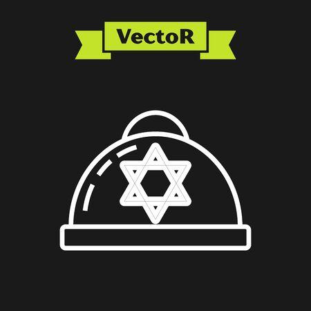 White line Jewish kippah with star of david icon isolated on black background. Jewish yarmulke hat. Vector Illustration