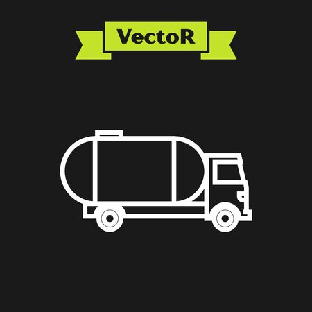 White line Tanker truck icon isolated on black background. Petroleum tanker, petrol truck, cistern, oil trailer. Vector Illustration