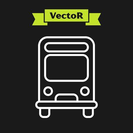 White line Bus icon isolated on black background. Transportation concept. Bus tour transport sign. Tourism or public vehicle symbol. Vector Illustration Ilustracja