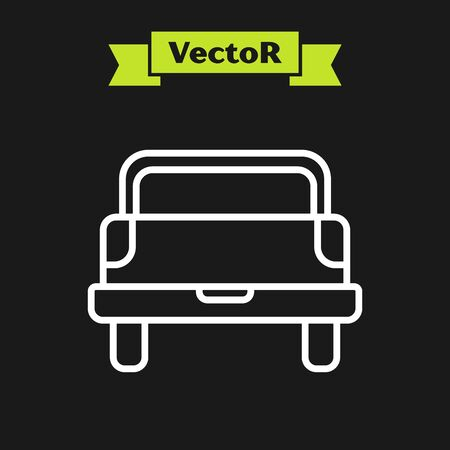 White line Pickup truck icon isolated on black background. Vector Illustration