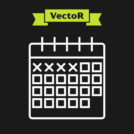 White line Calendar icon isolated on black background. Vector Illustration