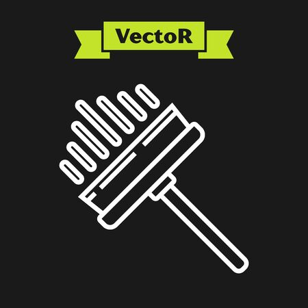 White line Cleaning service with of rubber cleaner for windows icon isolated on black background. Squeegee, scraper, wiper. Vector Illustration Фото со стока - 133919726
